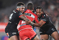 Jazz Tevaga and Agnatius Paasi tackle Nene Macdonald.<br /> NRL Premiership rugby league. Vodafone Warriors v St George Illawarra. Mt Smart Stadium, Auckland, New Zealand. Friday 20 April 2018. &copy; Copyright photo: Andrew Cornaga / www.Photosport.nz