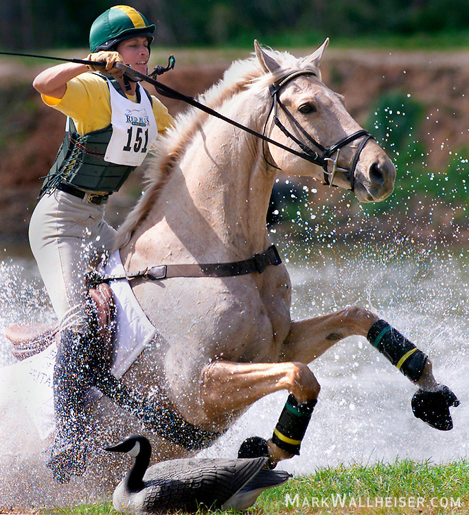 Julie Burns of Douglasville, Ga. flies through one of the cross-country water jumps on her horse Welton Gold on Saturday at Red Hills Horse Trials in Tallahassee, Florida March 9, 2002.
