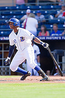 Tim Beckham #22 of the Durham Bulls follows through on his swing against the Charlotte Knights at Durham Bulls Athletic Park on August 28, 2011 in Durham, North Carolina.   (Brian Westerholt / Four Seam Images)