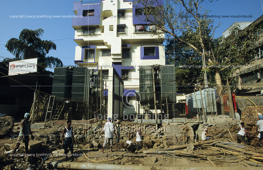 INDIA Mumbai, office of Reliance energy, the private power supplier of Mumbai, grid construction / INDIEN Mumbai, Buero des privaten Stromversorger Reliance Energy, Leitungsbau