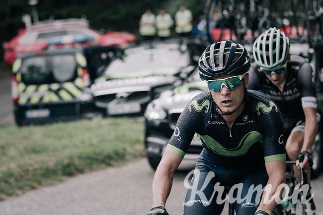 Carlos Betancur (COL/Movistar) up the Mur de P&eacute;gu&egrave;re (Cat1/1375m/9.3km/7.9%)<br /> <br /> 104th Tour de France 2017<br /> Stage 13 - Saint-Girons &rsaquo; Foix (100km)