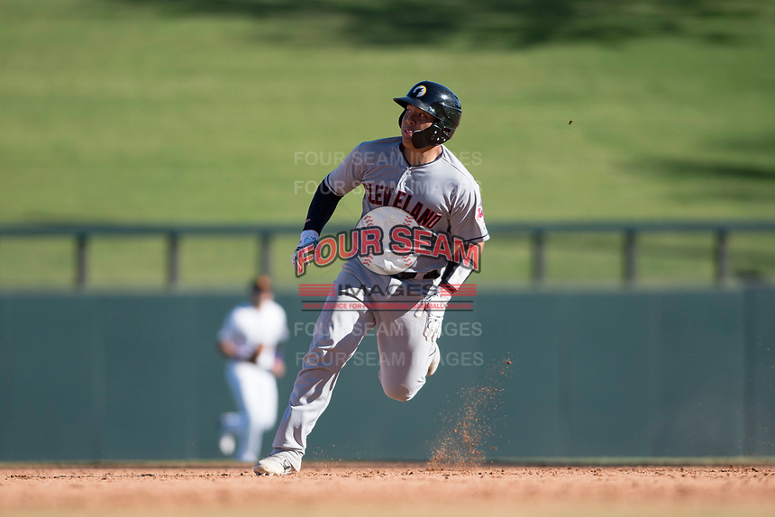 Glendale Desert Dogs catcher Li-Jen Chu (2), of the Cleveland Indians organization, hustles towards third base during an Arizona Fall League game against the Salt River Rafters at Salt River Fields at Talking Stick on October 31, 2018 in Scottsdale, Arizona. Glendale defeated Salt River 12-6 in extra innings. (Zachary Lucy/Four Seam Images)