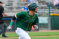 Beloit Snappers outfielder Luis Barrera (16) runs to first base during a Midwest League game against the Peoria Chiefs on April 15, 2017 at Pohlman Field in Beloit, Wisconsin.  Beloit defeated Peoria 12-0. (Brad Krause/Four Seam Images)