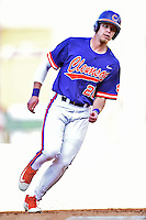 Clemson Tigers right fielder Seth Beer (8) rounds third during a game against the South Carolina Gamecocks at Fluor Field on March 5, 2016 in Greenville, South Carolina. The Tigers defeated the Gamecocks 5-0. (Tony Farlow/Four Seam Images)