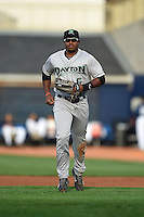 Dayton Dragons outfielder Phil Ervin (6) jogs to the dugout during a game against the Lake County Captains on June 7, 2014 at Classic Park in Eastlake, Ohio.  Lake County defeated Dayton 4-3.  (Mike Janes/Four Seam Images)