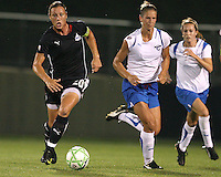Abby Wambach #20 of the Washington Freedom breaks away from Maggie Tomecks #5 of the Boston Breakers during a WPS match at Maryland Soccerplex on July 29, in Boyds, Maryland. Freedom won 1-0.