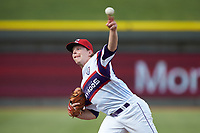 Winston-Salem Rayados relief pitcher Hunter Schryver (20) delivers a pitch to the plate against the Potomac Nationals at BB&T Ballpark on August 12, 2018 in Winston-Salem, North Carolina. The Rayados defeated the Nationals 6-3. (Brian Westerholt/Four Seam Images)
