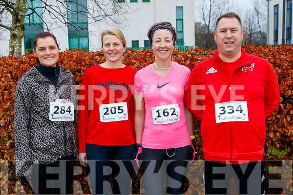Mary O'Connor (Lisselton), Aoife O'Carroll (Killarney), Yvonne Sheehan (Neenagh) and John Hart (Tralee), all who took part in the Optimal Fitness 110 miler and 5k road race, at The Rose Hotel, Tralee, on Sunday morning last.