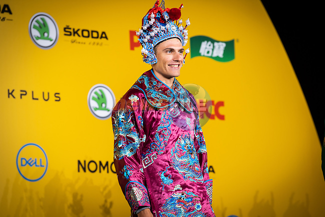 Marcel Kittel (GER) wearing a Bejing Opera costume on stage at the media day before the 2018 Shanghai Criterium, Shanghai, China. 16th November 2018.<br /> Picture: ASO/Pauline Ballet | Cyclefile<br /> <br /> <br /> All photos usage must carry mandatory copyright credit (&copy; Cyclefile | ASO/Pauline Ballet)