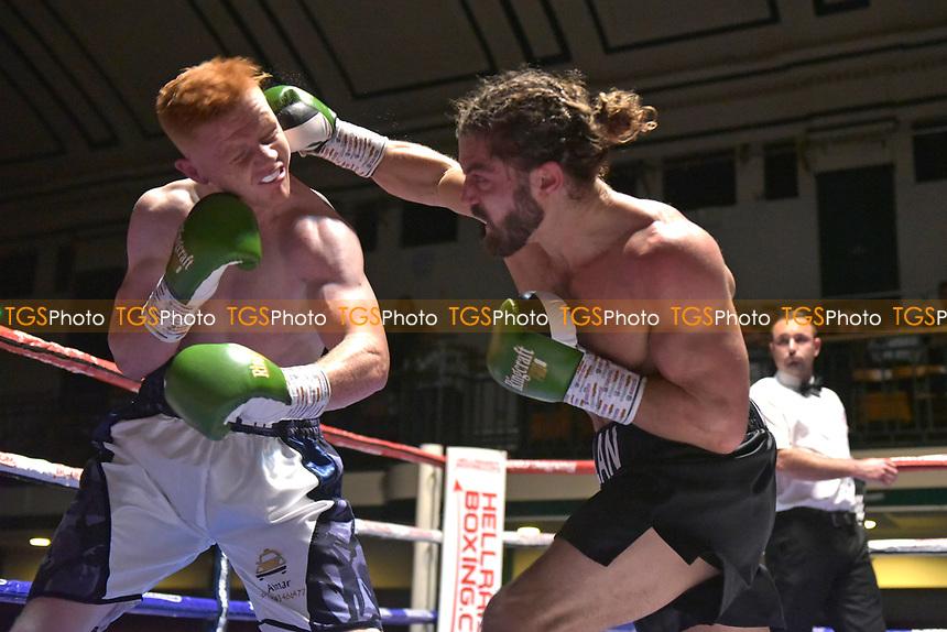 Rylan Charlton (black shorts) defeats Lee Gunter during a Boxing Show at York Hall on 6th October 2018