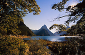 Looking across Freshwater Basin, Milford Sound, to Mitre Peak, Fiordland National Park, South Island, New Zealand.