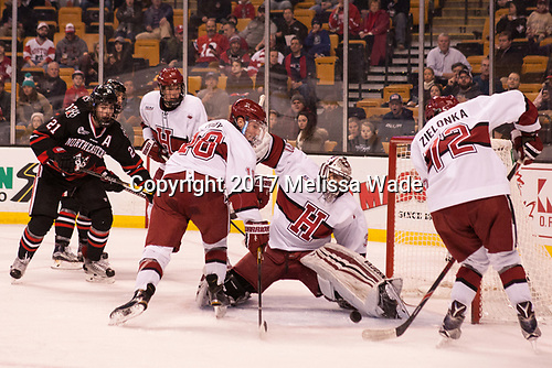 Nolan Stevens (NU - 21), Jacob Olson (Harvard - 26), Adam Fox (Harvard - 18), Merrick Madsen (Harvard - 31), Phil Zielonka (Harvard - 72) - The Harvard University Crimson defeated the Northeastern University Huskies 4-3 in the opening game of the 2017 Beanpot on Monday, February 6, 2017, at TD Garden in Boston, Massachusetts.