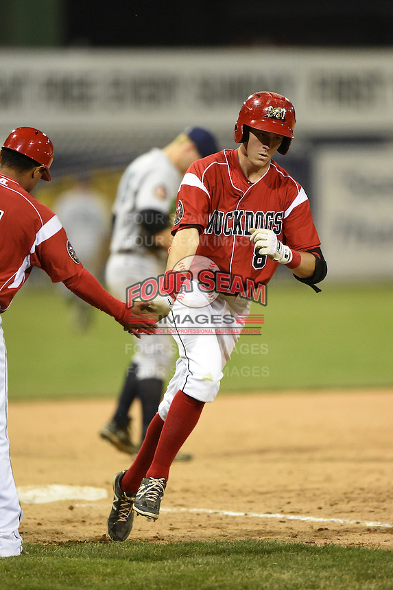Batavia Muckdogs second baseman Brian Anderson (8) is congratulated by manager Angel Espada (4) after hitting a home run during a game against the Jamestown Jammers on July 7, 2014 at Dwyer Stadium in Batavia, New York.  Batavia defeated Jamestown 9-2.  (Mike Janes/Four Seam Images)