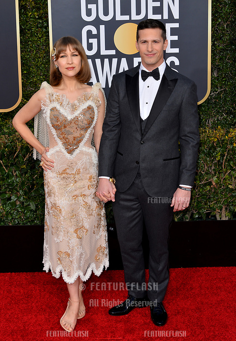 LOS ANGELES, CA. January 06, 2019: Andy Samberg &amp; Joanna Newsom at the 2019 Golden Globe Awards at the Beverly Hilton Hotel.<br /> Picture: Paul Smith/Featureflash