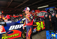 May 31, 2008; Dover, DE, USA; Nascar Sprint Cup Series driver Jeff Gordon during practice for the Best Buy 400 at the Dover International Speedway. Mandatory Credit: Mark J. Rebilas-US PRESSWIRE