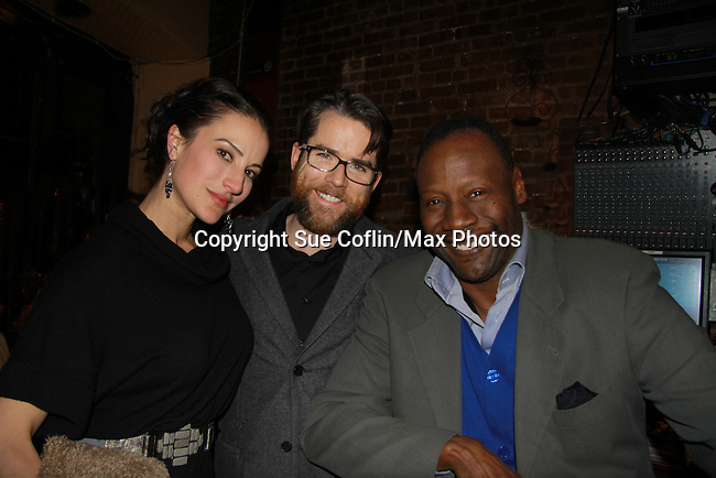 """A Benefit reading of Flutter By's and in the cast is Christian Campbell """"Bobby Warner"""" AMC and wife America Olivo (General Hospital) who pose with Gregory Generat (Tamara Tunie's husband). The reading is presented by Smoke Jazz Club on January 8, 2012 with proceeds donated to Broadway Cares Equity Fights Aids.  (Photo by Sue Coflin/Max Photos)"""