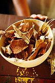 BELIZE, Hopkins, a bowl of dried medicinal herbs