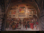 The Papal Coronation of Pius III, Bernardino di Betto Pinturicchio 1504, Entrance to Piccolomini Library, Cathedral of Siena, Santa Maria Assunta, Siena, Italy