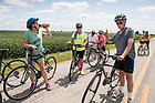 August 18, 2017; Pilgrims take a  break during a 28.8 mile ride to Lafayette, Indiana on day 5 of the ND Trail.  As part of the University's 175th anniversary celebration, the Notre Dame Trail will commemorate Father Sorin and the Holy Cross Brothers' journey. A small group of pilgrims will make the entire 300+ mile journey from Vincennes to Notre Dame over  two weeks.(Photo by Barbara Johnston/University of Notre Dame)