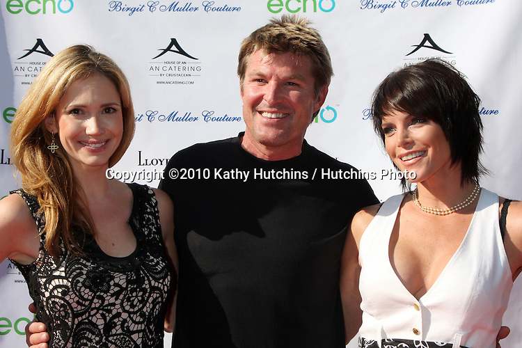 Ashley Jones, Winsor Harmon, Lesli Kay.arrive at the Birgit C. Muller Fashion Show at.Chaves Ranch in.Los Angeles, CA on.July 11, 2010.©2010 Kathy Hutchins / Hutchins Photo.....