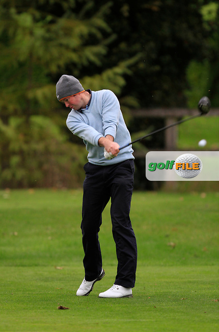 Brian McElhinney (Foyle Golf Centre) on the 3rd tee during Round 4 of The Cassidy Golf 103rd Irish PGA Championship in Roganstown Golf Club on Sunday 13th October 2013.<br /> Picture:  Thos Caffrey / www.golffile.ie
