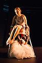 Edinburgh UK. 09.08.2013. National Theatre of Scotland presents MENAGE A TROIS by Claire Cunningham and Gail Sneddon a as part of the Edinburgh Festival Fringe.  Performed by Claire Cunningham and Christopher Owen. Photograph © Jane Hobson.