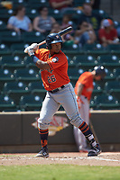 Corey Julks (26) of the Buies Creek Astros at bat against the Winston-Salem Dash at BB&T Ballpark on July 15, 2018 in Winston-Salem, North Carolina. The Dash defeated the Astros 6-4. (Brian Westerholt/Four Seam Images)