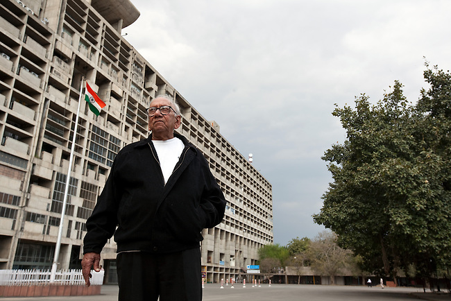 CHANDIGARH,INDIA , 10 March 2011: Mr Manmohan Nath Sharma a prominent architect pictured at the Chandigarh Secretariat building he helped design with  Le Corbusier, a Swiss architect and designer and one of the pioneers of  Modern architecture or the International style who designed much of Chandigarh, India. pic Graham Crouch/The Australian