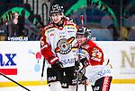Stockholm 2014-01-08 Ishockey SHL AIK - Lule&aring; HF :  <br />  Lule&aring;s Daniel Gunnarsson och Lule&aring;s Chris Abbott &auml;r glada efter ratt Lule&aring;s Per Ledin gjort 4-0<br /> (Foto: Kenta J&ouml;nsson) Nyckelord:  jubel gl&auml;dje lycka glad happy