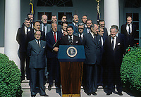 Washington DC., USQA, May 31, 1984<br /> President Ronald Reagan delivers remarks on the 35th Anniversary of the North Atlantic Alliance in the Rose Garden with all the Nato Ministers. Credit: Mark Reinstein/MediaPunch