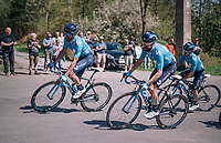 #1 Alejandro Valverde (ESP/Movistar team) surrounded by his blue teammates on his way to Huy<br /> <br /> 82nd Fl&egrave;che Wallonne 2018 (1.UWT)<br /> 1 Day Race: Seraing - Huy (198km)
