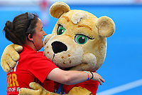 England hockey mascot dances with a hockey maker during the Hockey World League Semi-Final match between England and Netherlands at the Olympic Park, London, England on 24 June 2017. Photo by Steve McCarthy.