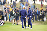 Thorbjorn Olesen (Team Europe) and Rory McIlroy (Team Europe) on the 5th during the friday fourballs at the Ryder Cup, Le Golf National, Iles-de-France, France. 27/09/2018.<br /> Picture Fran Caffrey / Golffile.ie<br /> <br /> All photo usage must carry mandatory copyright credit (© Golffile | Fran Caffrey)