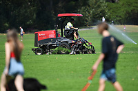 1st April 2020, Kohi Beach, Auckland, New Zealand;  Lawn mowing at Madills Farm during the lockdown due to Covid-19. Kohimarama, Auckland, New Zealand on Wednesday 1 April 2020.