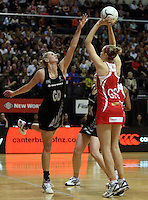 25.10.2012 Silver Ferns Casey Williams and England's Jo Harten in action during the Silver Ferns v England netball test match as part of the Quad Series played at the TSB Arena Wellington. Mandatory Photo Credit ©Michael Bradley.