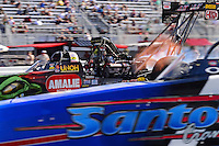 Sept. 14, 2012; Concord, NC, USA: NHRA top fuel dragster driver Terry McMillen during qualifying for the O'Reilly Auto Parts Nationals at zMax Dragway. Mandatory Credit: Mark J. Rebilas-