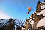 JJ Shiller  riding moment skis in the chutes at Mt. Rose Ski Tahoe during sunrise