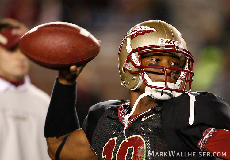 FSU quarterback D'Vontrey Richardson warms up prior to the start of Florida State's NCAA football game against  Boston College at Bobby Bowden field on the Florida State University campus in Tallahassee, Florida November 15, 2008.  (Mark Wallheiser/TallahasseeStock.com)