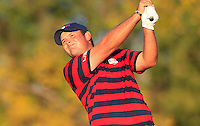 Patrick Reed (Team USA) on the 17th tee during Saturday afternoon Fourball at the Ryder Cup, Hazeltine National Golf Club, Chaska, Minnesota, USA.  02/10/2016<br /> Picture: Golffile | Fran Caffrey<br /> <br /> <br /> All photo usage must carry mandatory copyright credit (&copy; Golffile | Fran Caffrey)