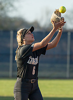 NWA Democrat-Gazette/BEN GOFF @NWABENGOFF<br /> Morgan Nelson, Bentonville shortstop, fields a fly ball Tuesday, April 10, 2018, during the game against Bentonville West at Bentonville West's Wolverine Athletic Complex in Centerton.