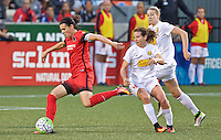 Portland, OR - Sunday Sept. 11, 2016: Christine Sinclair, Elizabeth Eddy during a regular season National Women's Soccer League (NWSL) match between the Portland Thorns FC and the Western New York Flash at Providence Park.