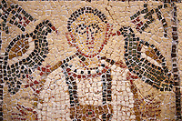 5th century AD Eastern Roman Byzantine  Christian  funerary mosaic of Crescentia from Tharbarka western Necropolis in the Roman province of Africa Proconsularis, present day Tunisia. The funerary portrait depicts a young girl, Crescentia, dressed in a dalmatic tunic with vertical stripes, pulled in at the waist by a belt , with a necklace around her neck. Today the dalmatic is a long wide-sleeved tunic, which still serves as a liturgical vestment in the Roman Catholic church. To the right side of Crescentia is a lit candle which symbolises eternal faith. <br />
