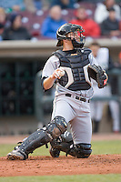 Catcher Matt Wallach #22 of the Great Lakes Loons on defense versus the Dayton Dragons at Fifth Third Field April 22, 2009 in Dayton, Ohio. (Photo by Brian Westerholt / Four Seam Images)