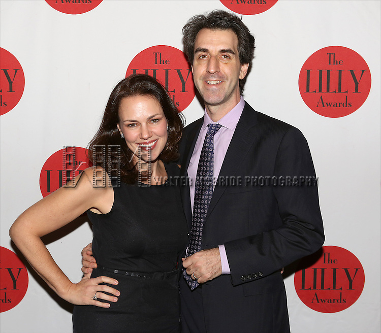 Georgia Stitt and Jason Robert Brown backstage at The Lilly Awards Broadway Cabaret'   at The Cutting Room on November 9, 2015 in New York City.
