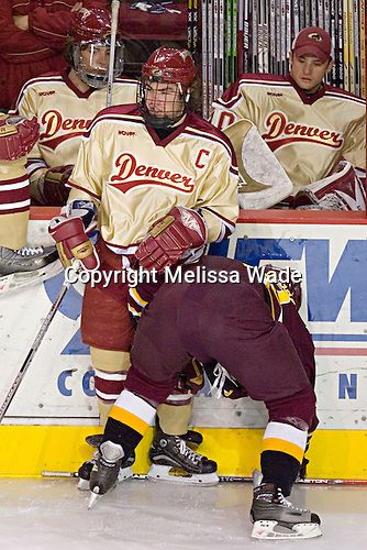 Denver ?, Gabe Gauthier, Ferris ?, Danny King - The Ferris State Bulldogs defeated the University of Denver Pioneers 3-2 in the Denver Cup consolation game on Saturday, December 31, 2005, at Magness Arena in Denver, Colorado.