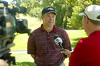 21 May 2005: Stanford Cardinal head coach Conrad Ray is interviewed by the Golf Channel during the 2005 NCAA Men's Golf Western Regional at the Stanford Golf Course in Stanford, CA.