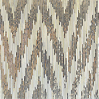 Pamir, a hand-cut jewel glass mosaic, shown in Quartz and Mirror is part of the Ikat Collection by New Ravenna.
