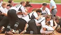 NWA Democrat-Gazette/J.T. WAMPLER The Bentonville squad celebrates beating North Little Rock Friday May 19, 2017 during the 7A State Championship game at Bogle Park in Fayetteville. Bentonville won 11-3.