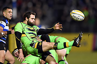Cobus Reinach of Northampton Saints box-kicks the ball. Aviva Premiership match, between Bath Rugby and Northampton Saints on February 9, 2018 at the Recreation Ground in Bath, England. Photo by: Patrick Khachfe / Onside Images