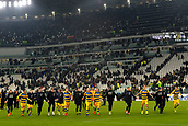 2nd February 2019, Allianz Stadium, Turin, Italy; Serie A football, Juventus versus Parma; Parma players celebrate with their supporters after drawing 3-3 with Juventus